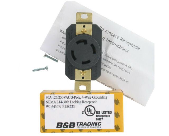 6 Units NEMA L14 30 Grounding Locking Receptacle 3 Pole 4