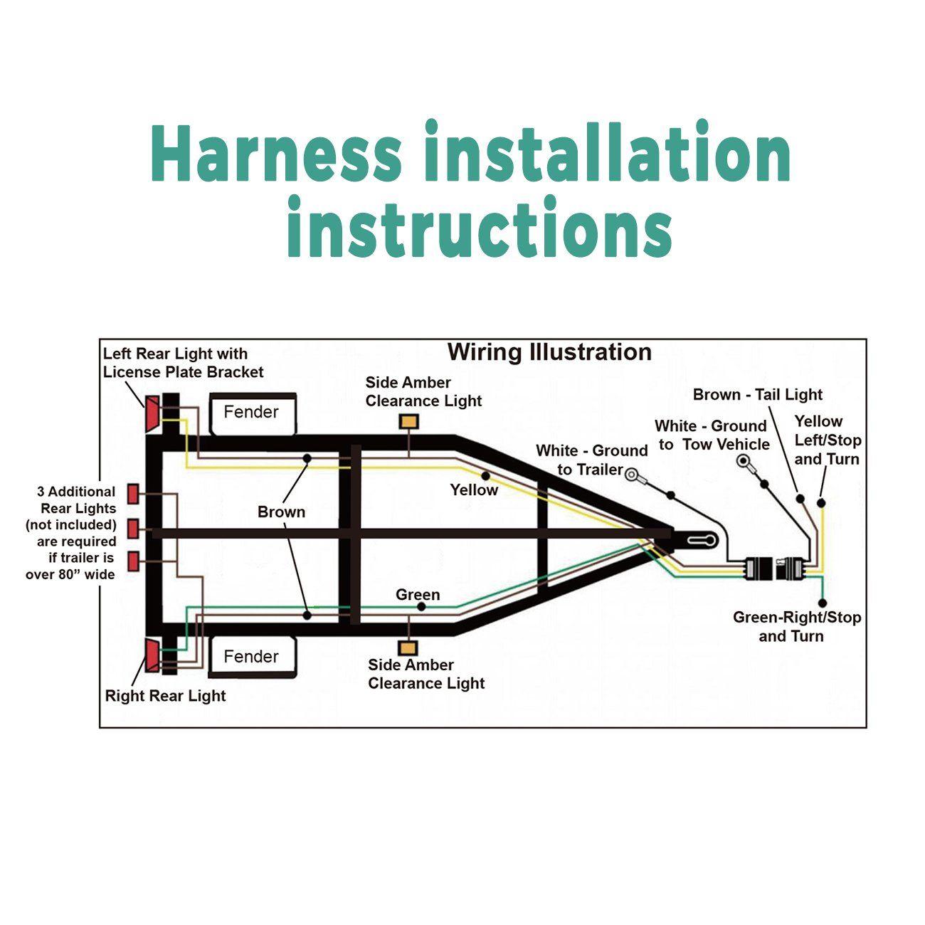 HQAP Trailer Wiring Harness Kit 4 Way Flat Wishbone Style